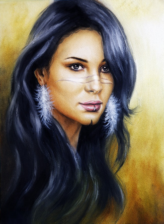 Beautiful illustration, portrait of a young  indian woman face with feather earrings and long dark hair illustration
