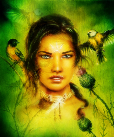 cherokee indian: portrait of a young  woman face, with birds and flower ,fractal effect eye contact