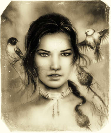 native american girl: beautiful portrait of a young indian woman face, with birds and flower , retro sepia background