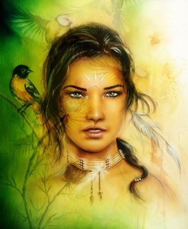 beautiful airbrush portrait of a young enchanting woman face with feathers and long dark hair, looking directly up, with birds on green painting background photo