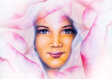 angelic: beautiful  painting of a young woman angelic face with blue eye , on abstract  rose flower background, pink colored