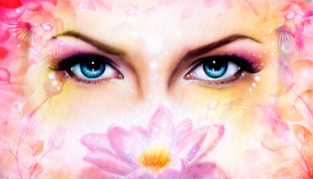 enchantress: illustration blue women eyes beaming up enchanting from behind a blooming rose lotus flower, with bird on pink abstract background.eye contact