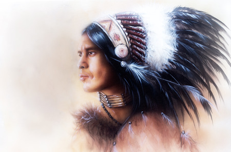 native american man: beautiful painting of a young indian warrior wearing a gorgeous feather headdress, profile portrait