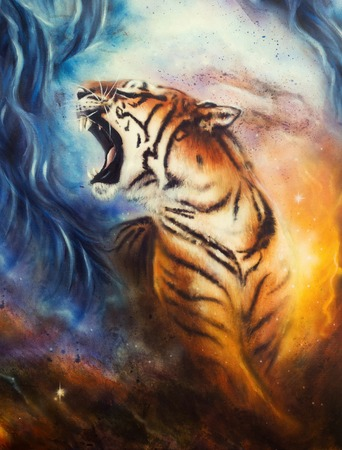 A beautiful airbrush painting of a roaring tiger on a abstract cosmical background