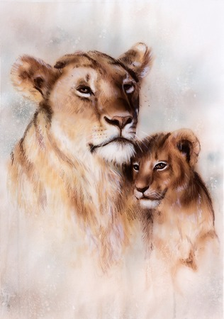 A beautiful illustration painting of a loving lion mother and her baby cub