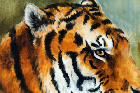 looking straight: Detail tiger head on a soft toned abstract background Stock Photo