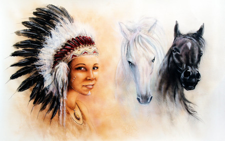 warrior girl: beautiful  painting of a young indian woman wearing a gorgeous feather headdress, with an image of of black and white  horse Stock Photo