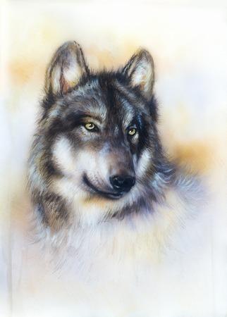 Wolf het schilderen op doek, achtergrond kleur op papier, veelkleurige illustratie.