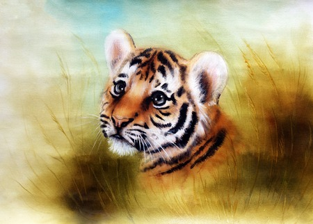 baby tiger: Illustration cute baby tiger cartoon,  looking out from a green grass surroundings Archivio Fotografico