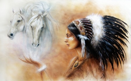 accessories horse: A beautiful airbrush painting of a young indian woman wearing a gorgeous feather headdress, with an image of two white horse spirits hovering above her palm Stock Photo
