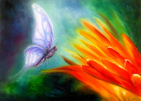 orange flower: Butterfly flying towards a bright orange flower, beautiful detailed colorful oil painting on canvas