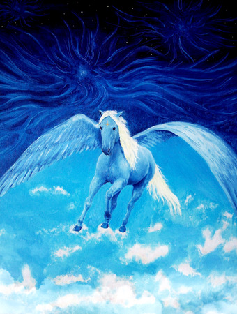 high up: Flying white pegasus horse high up in the skies, beautiful detailed oil painting on canvas