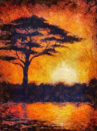 aquarell: Sunset in africa with a tree silhouette, beautiful colorful painting, with computer graphic finish, aquarell effect Stock Photo