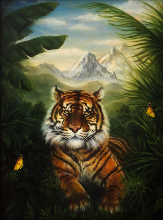 Tiger resting in the jungle landscape, beautiful detailed oil painting on canvas Foto de archivo