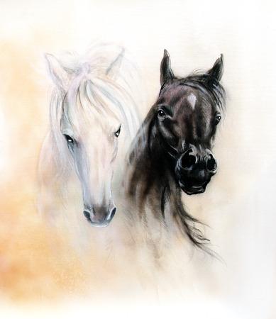 caballo: Cabezas de caballo, dos esp�ritus caballo blanco y negro, hermosa pintura al �leo detallada sobre lienzo, fondo abstracto ocre