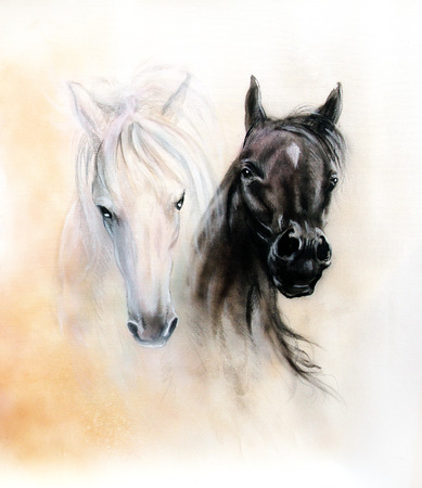 oil painting: Horse heads, two black and white horse spirits, beautiful detailed oil painting on canvas, abstract ocre background