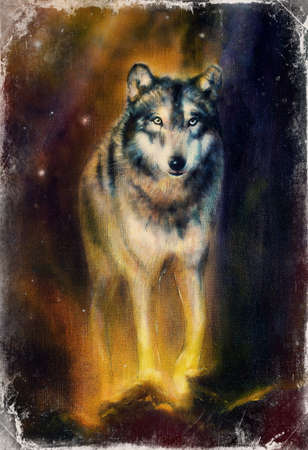 Wolf painting on canvas color background on paper