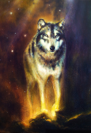 Wolf portrait, mighty cosmical wolf walking from light, beautiful detailed oil painting on canvas