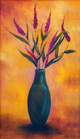 halm: Flowers in a vase, dryed up, on bright orange background, oil painting, color painting Stock Photo
