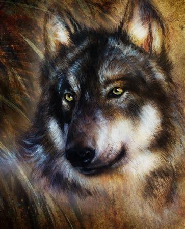 wilkołak: Wilk malarstwo, kolor tła na papierze, wielokolorowego ilustracji.