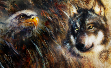 Wolf and eagle color painting, feathers background, multicolor collage illustration. Stock Photo