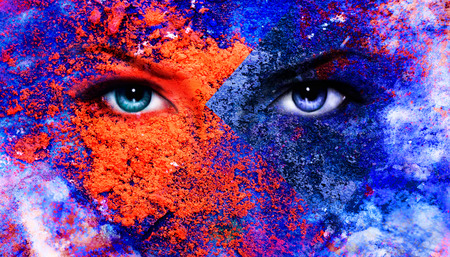 eyes looking up: A pair of beautiful blue women eyes beaming, color earth effect, painting collage, violet makeup
