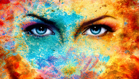 A pair of beautiful blue women eyes beaming, color rust effect, painting collage, violet makeup