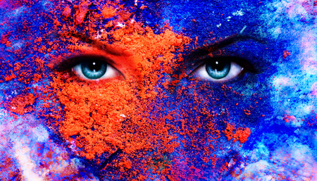 spirit medium: A pair of beautiful blue women eyes beaming, color earth effect, painting collage, violet makeup
