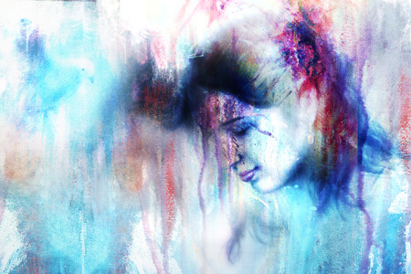 spirit medium: young woman and a dove, in twinkling starlight immersed, frozen snowflake background