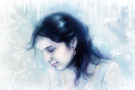 young woman and a dove, in twinkling starlight immersed, frozen snowflake background photo
