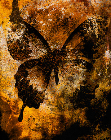 color butterfly, illustration and mixed medium, abstract  background, vintage rust effect Фото со стока - 38992556