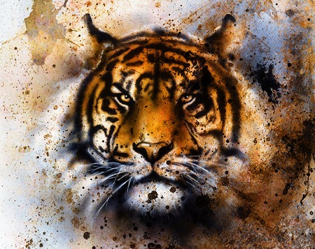 funny creature: tiger collage on color abstract  background,  rust structure, wildlife animals, eye contact. Stock Photo