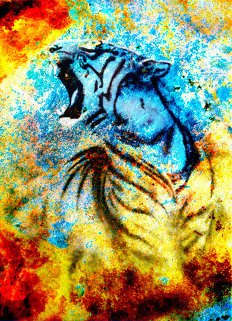 painting abstract tiger collage on color abstract  background,  rust structure, wildlife animals photo