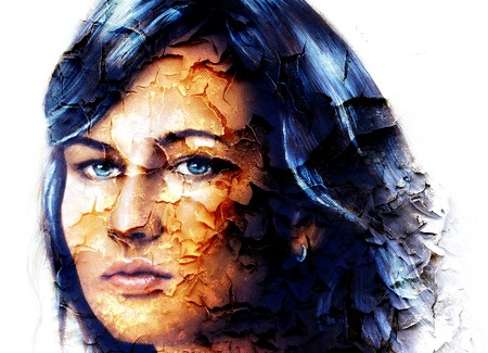 powerful aura: mystic face women, with structure crackle background effect, collage. eye contact