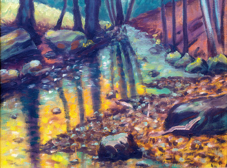 rivulet: river in autumn forest,  oil painting