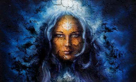 コラージュのおでこに星の構造クラックル バック グラウンド効果で神秘的な顔の女性。眼との接触 写真素材