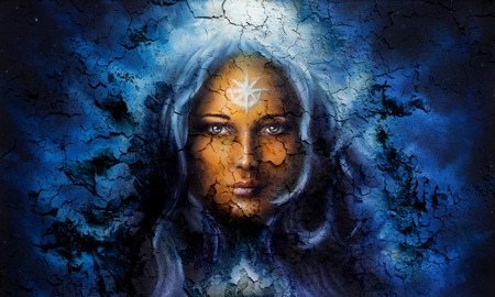 fantasy girl: mystic face women, with structure crackle background effect, with star on forehead, collage. eye contact