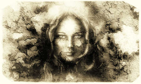 mystic face women, with structure crackle background effect, with star on forehead, collage. eye contact. retro style.