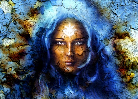 awaken: mystic face women, with structure crackle background effect, with star on forehead, collage. eye contact
