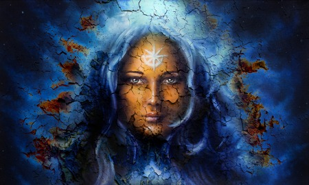 emanating: mystic face women, with structure crackle background effect, with star on forehead, collage. eye contact