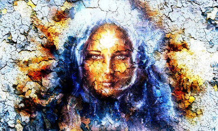guarding: mystic face women, with structure crackle background effect, with star on forehead, collage. eye contact