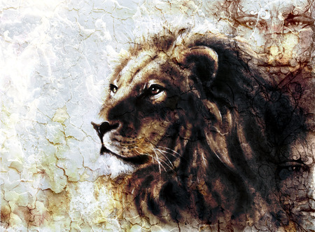 peaceful: beautiful  painting of a lion head and mystic faces with a majesticaly peaceful expression desert pattern