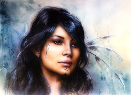 young indian woman with  feather,with ornamental tattoo, on structured abstract background. Standard-Bild