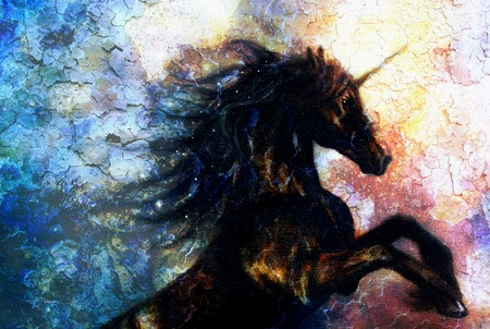 painting on canvas of a black unicorn dancing in space, crackle desert effect
