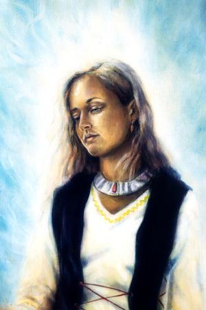 powerful aura: Spiritual painting, Middle woman. Stock Photo