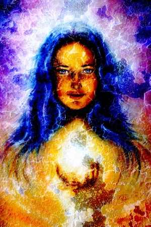 wholeness: painting woman with long blue hair, holding a sourceful of a white light on her palm, with structure crackle background effect, eye contact.