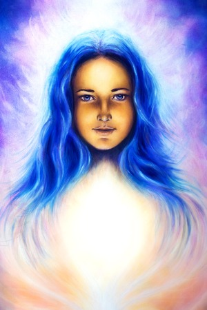 awakening: woman goddess with long blue hair and white light, spiritual blue eye, eye contact. Stock Photo