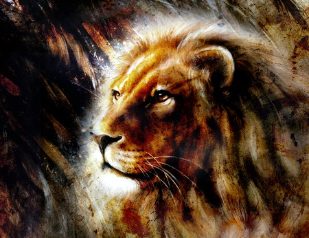 gazing: beautiful  painting of a lion head with a majesticaly peaceful expression, profile portrait