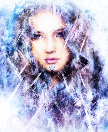 complexion: Beautiful snow queen with snow flakes and ornamental frost pattern.