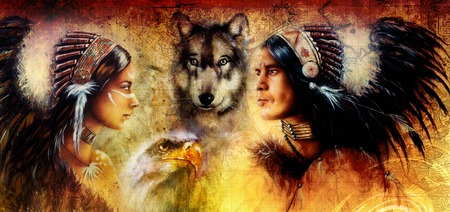 beautiful painting of an young indian man and woman  accompanied with  wolf and eagle on yellow ornament background